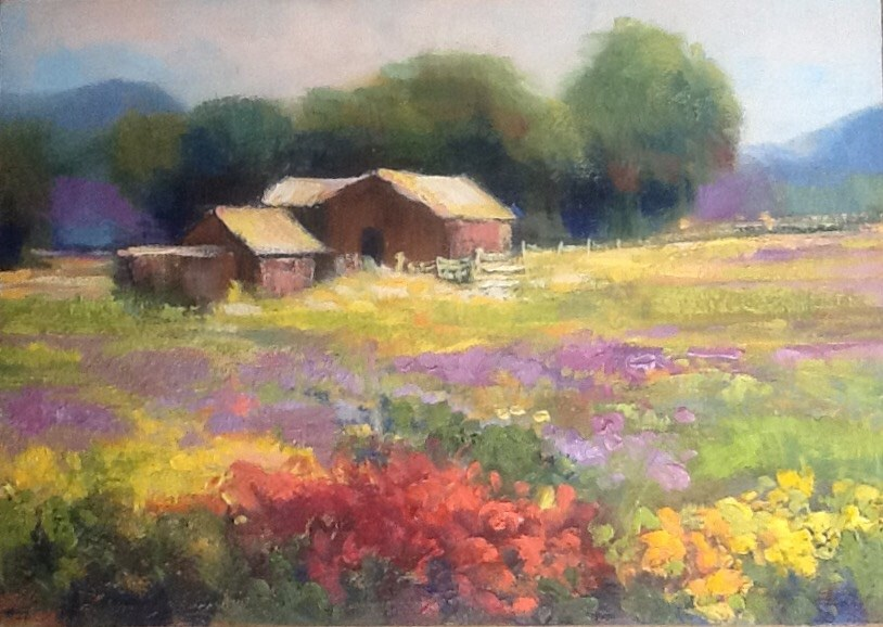 """Tranquil Farm"" original fine art by Jean Fitzgerald"