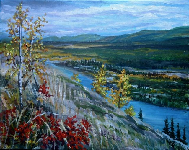 """Pelly River from the Dena Cho"" original fine art by Jackie Irvine"