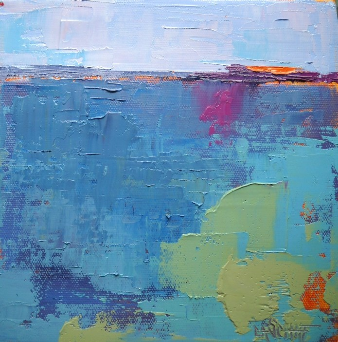 """Abstract Landscape Painting, Blue, 8x8x1.5 Oil Abstract by Carol Schiff SOLD"" original fine art by Carol Schiff"