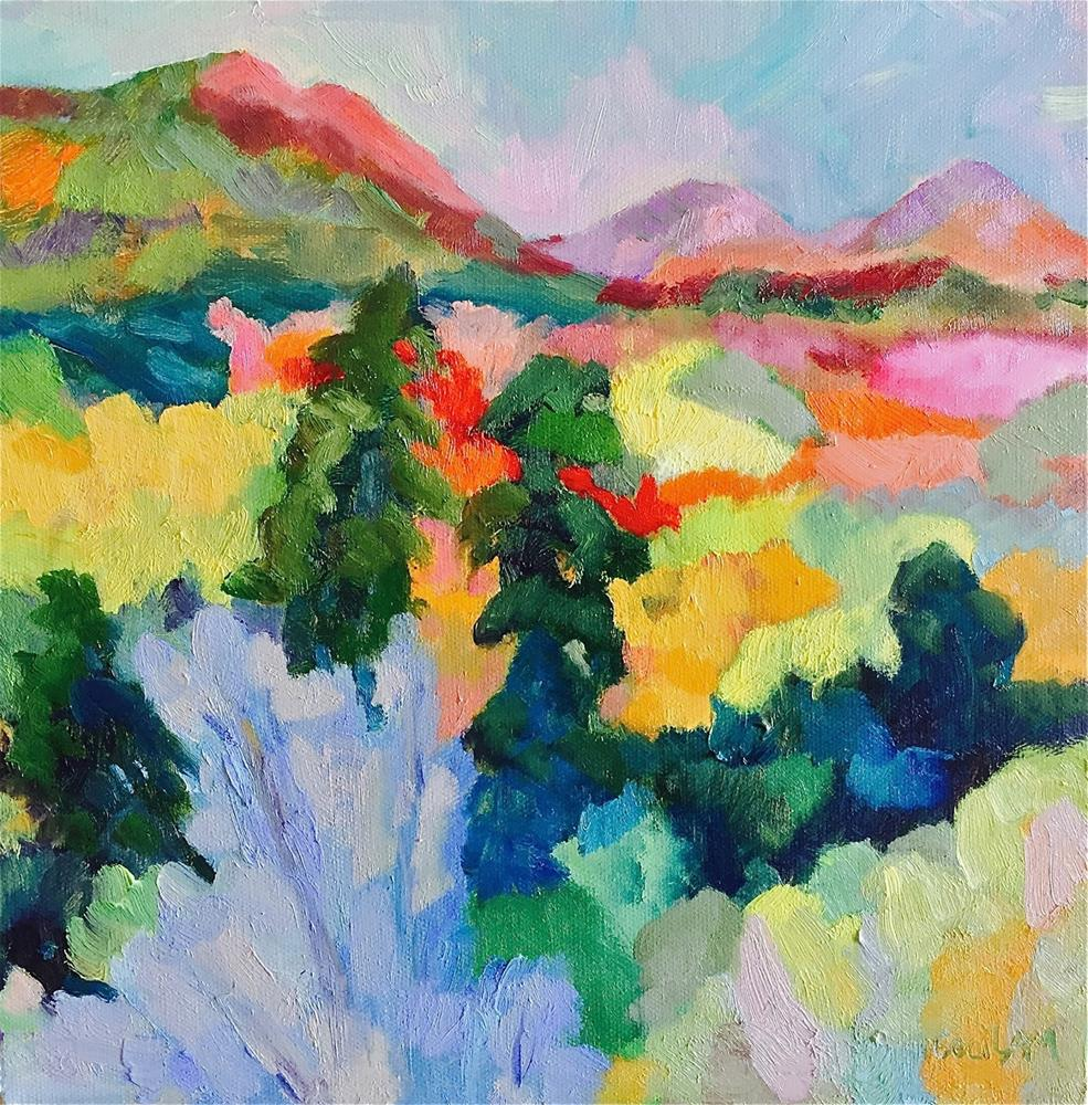 """Falling in Layers, Sedona Landscape"" original fine art by Ceci Lam"