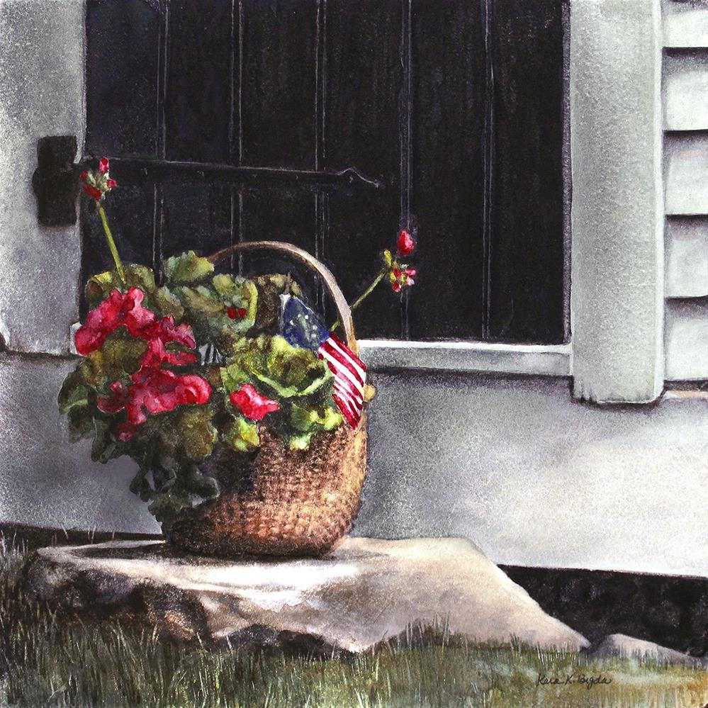 """July Geraniums (small)"" original fine art by Kara K. Bigda"