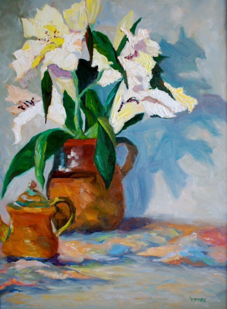 """White Lilies in Brown Pitcher"" original fine art by Liz Zornes"
