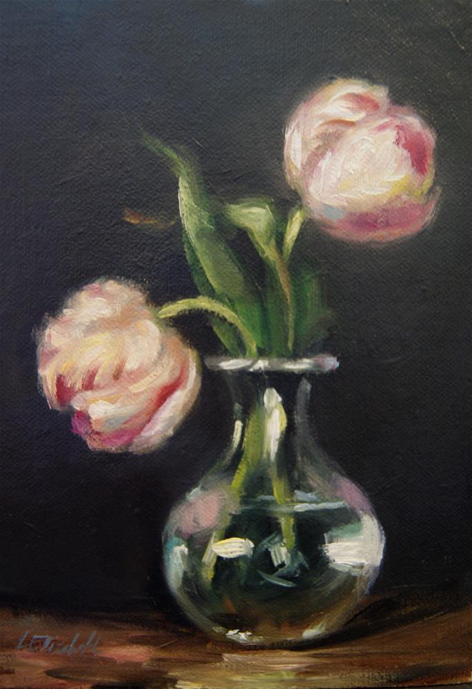 """Tulips in Glass Vase,  Oil on 5x7 Linen Panel"" original fine art by Carolina Elizabeth"