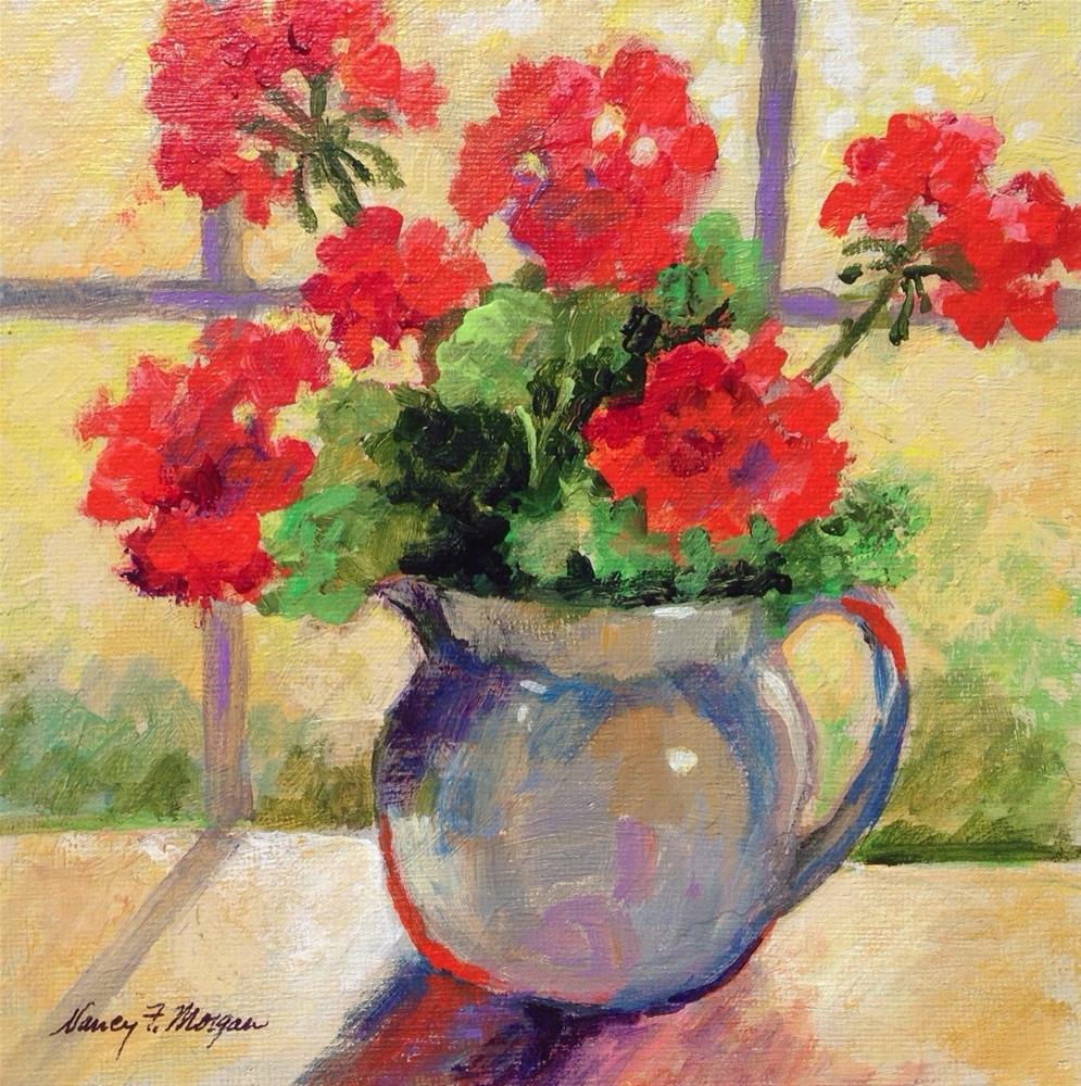 """North Window Geraniums"" original fine art by Nancy F. Morgan"