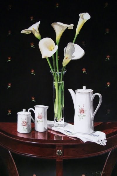 """Still Life with Callas"" original fine art by Jacqueline Gnott, TWSA, WHS"