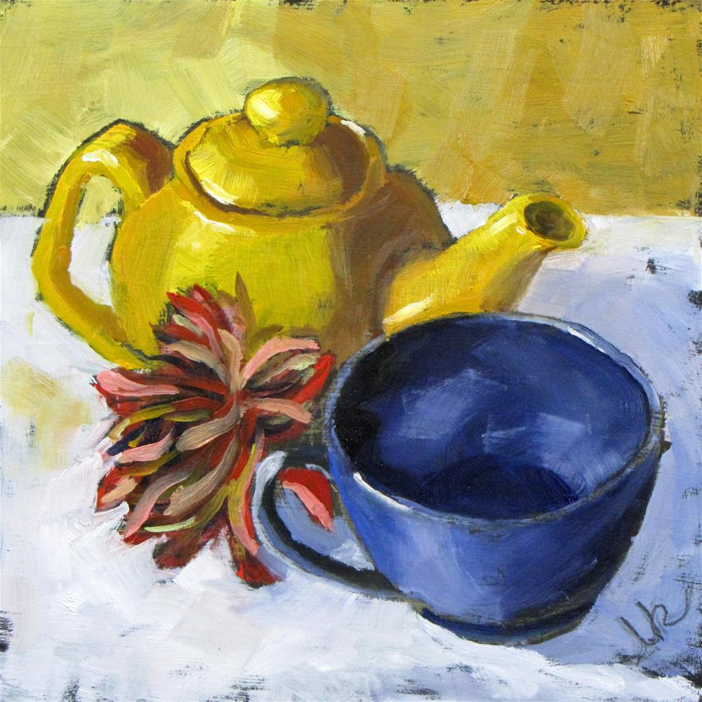 """Tea with Mum"" original fine art by Louise Kubista"