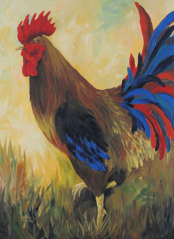 """Danette's Rooster"" original fine art by Torrie Smiley"