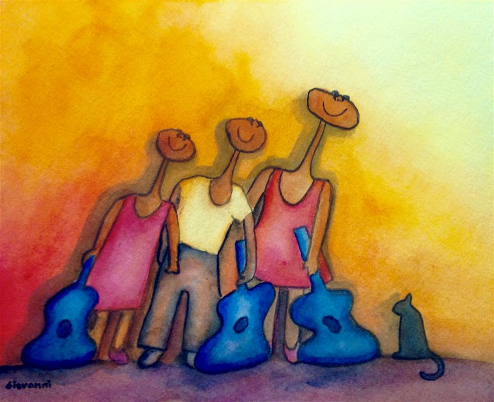 """Siblings' guitar players and cat"" original fine art by Giovanni Antunez"