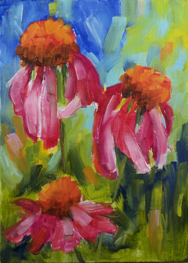 """Colorful Coneflowers"" original fine art by Sue Churchgrant"