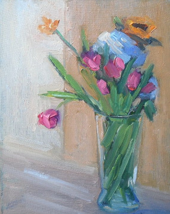 """Floral Still Life, Daily Painting, Small Oil Painting, 6x8 Oil on Canvas panel"" original fine art by Carol Schiff"