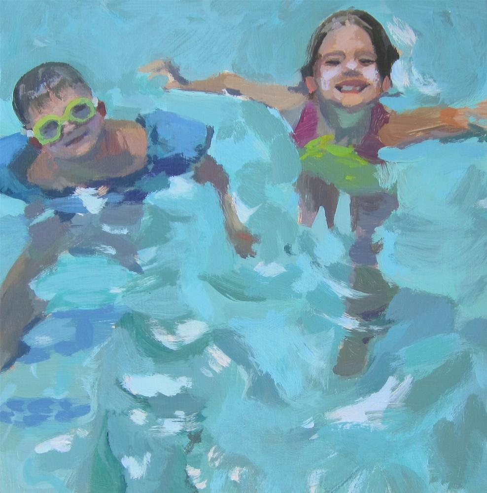 """Pool Kids"" original fine art by Kaethe Bealer"