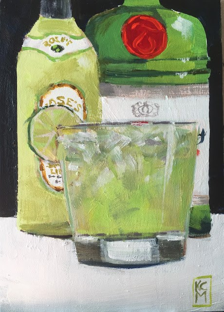 """Gimlet, Anyone? 7x5 Inch Acrylic Painting by Kelley MacDonald"" original fine art by Kelley MacDonald"