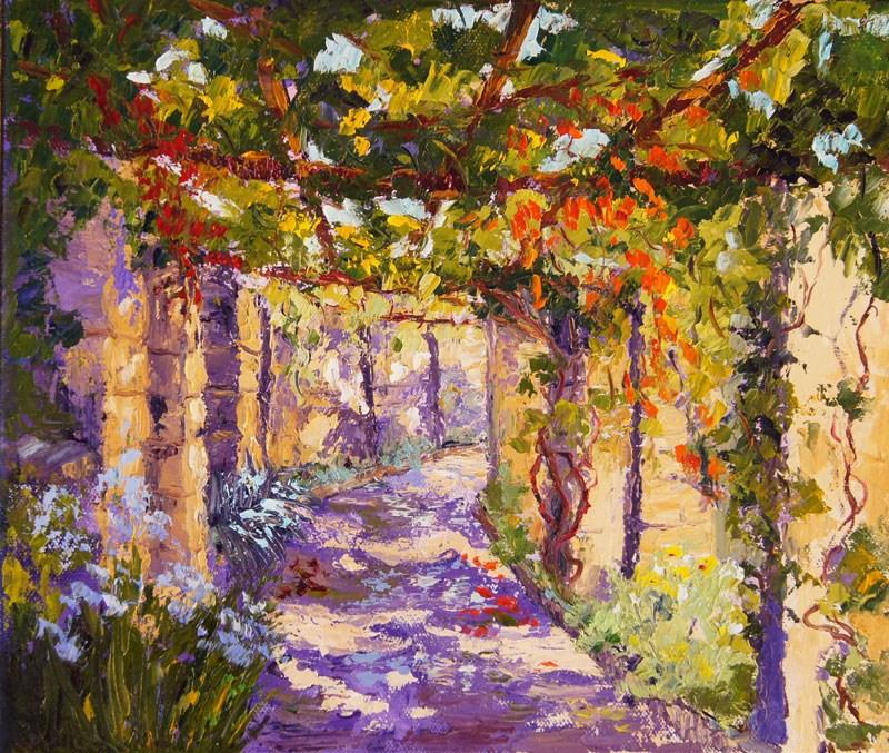 """Dappled Light palette knife painting"" original fine art by Marion Hedger"