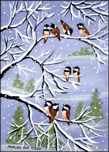 """Nine Little Chickadees"" original fine art by Patricia Ann Rizzo"