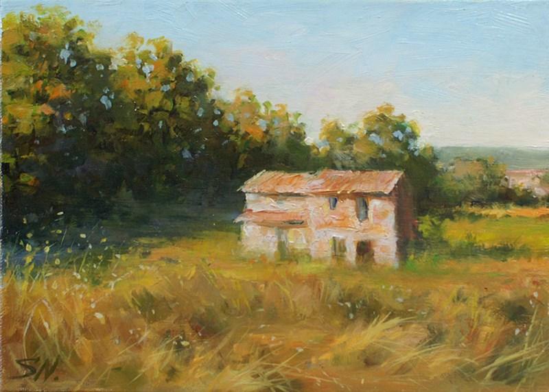 """Old farmhouse – landscape of Provence"" original fine art by Nick Sarazan"