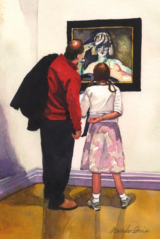 """Grandpa & Grandaughter 2"" original fine art by Mariko Irie"