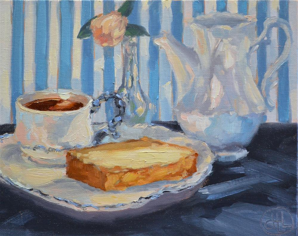 """tea and cake"" original fine art by Dottie  T  Leatherwood"