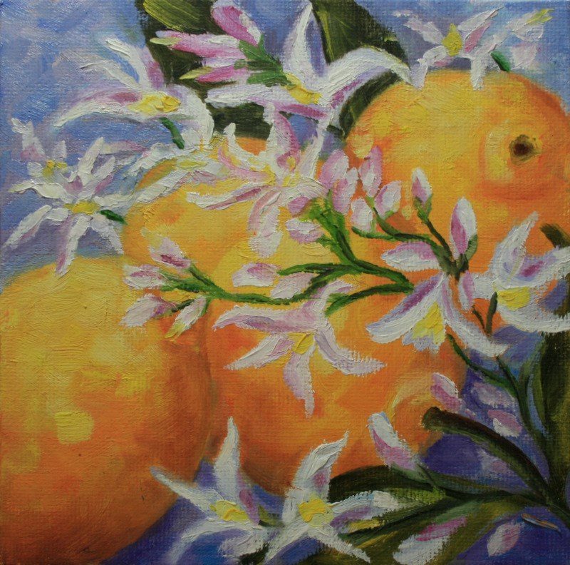 """Lemon Blossoms"" original fine art by Jean Nelson"