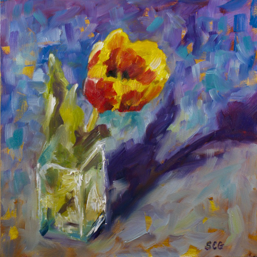 """Single Tulip Study"" original fine art by Sue Churchgrant"