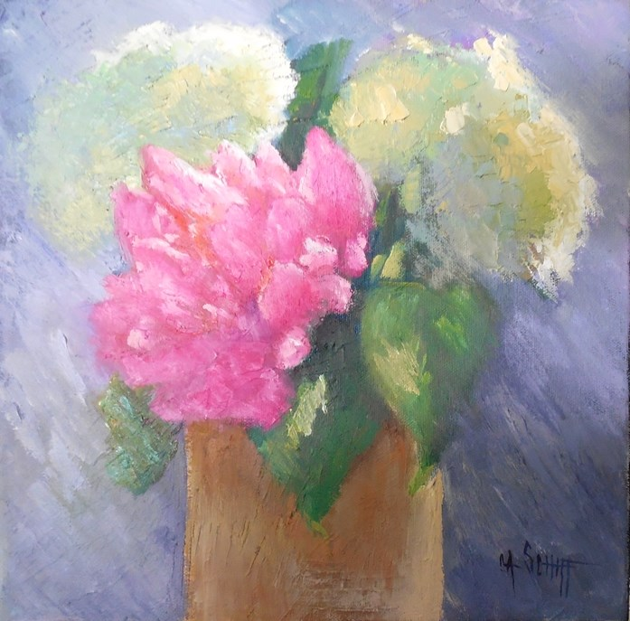 """Floral Still Life, Daily Painting, Small Oil Painting, Flower Still Life, 12x12x1.5 Oil, Garden Bo"" original fine art by Carol Schiff"