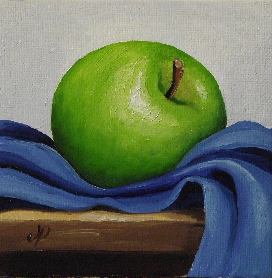 """Granny Smith on Blue"" original fine art by Jane Palmer"