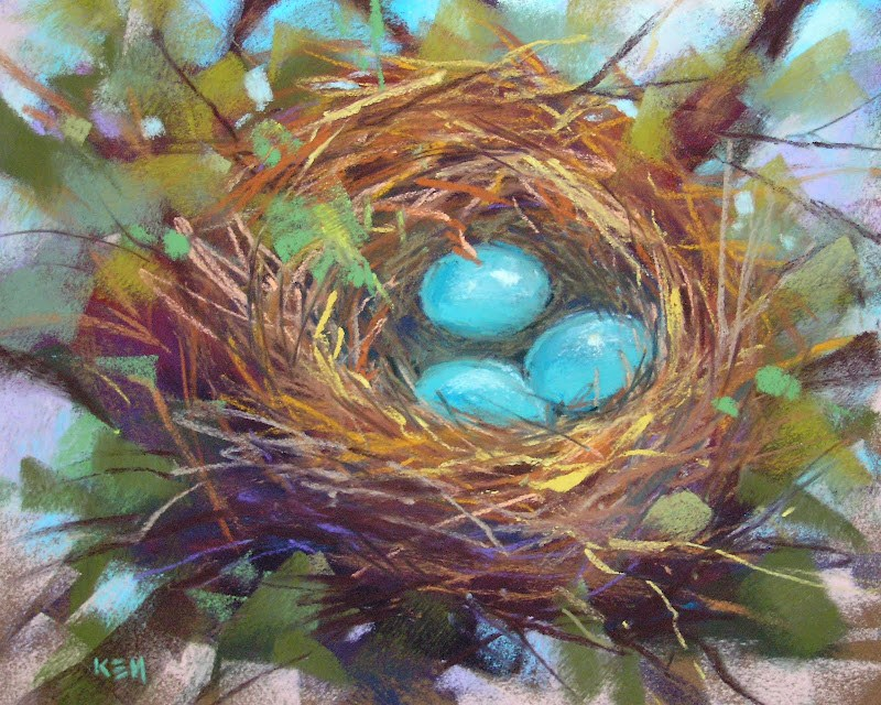 """Technique for Painting a Bird Nest in Pastel"" original fine art by Karen Margulis"