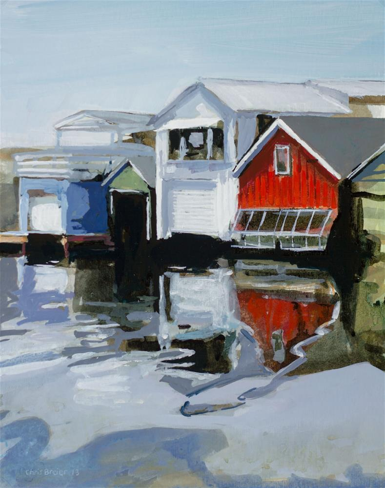 """Boathouses"" original fine art by Chris  Breier"