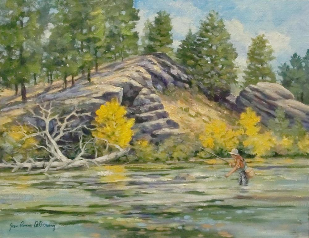 """11 Mile Canyon Fisherman"" original fine art by Jean Pierre DeBernay"