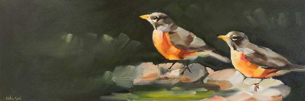 """Birdbath Robins"" original fine art by Cheryl Wilson"