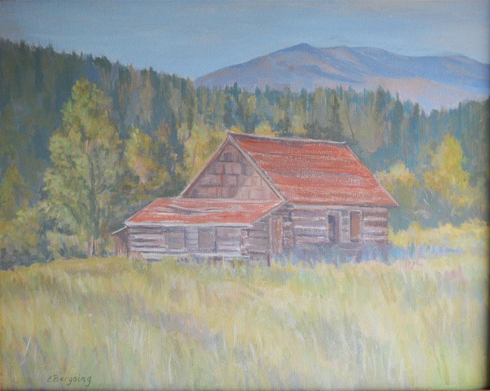 """Boulder River Cabin"" original fine art by Cathy Bergsing"