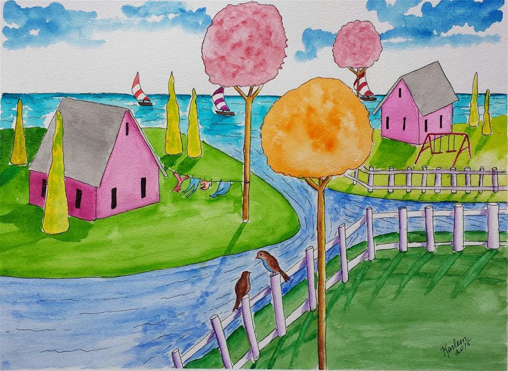 """Folk Art Two Birds on a Fence"" original fine art by Karleen Kareem"