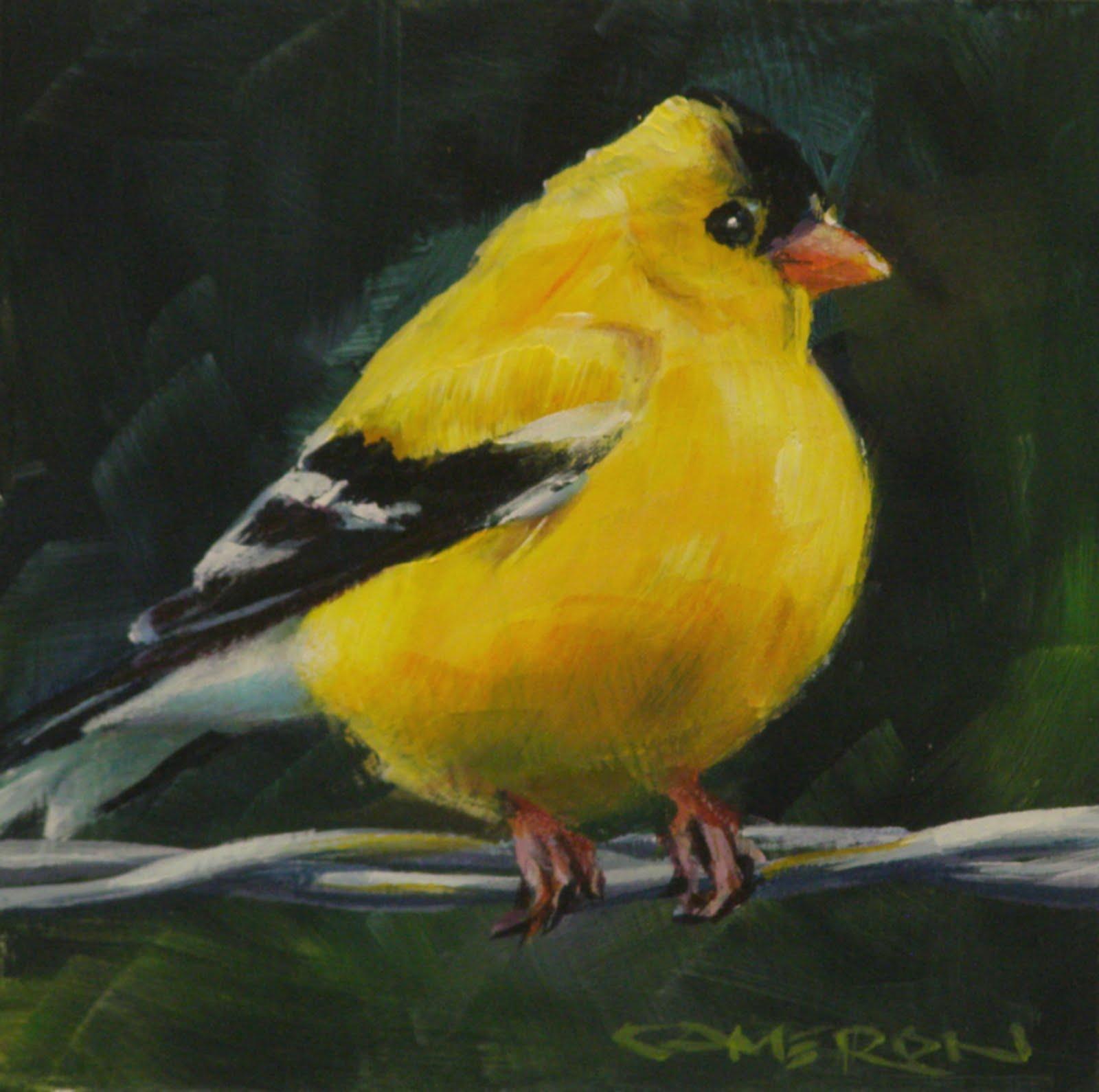 """BIRD ON A WIRE"" original fine art by Brian Cameron"