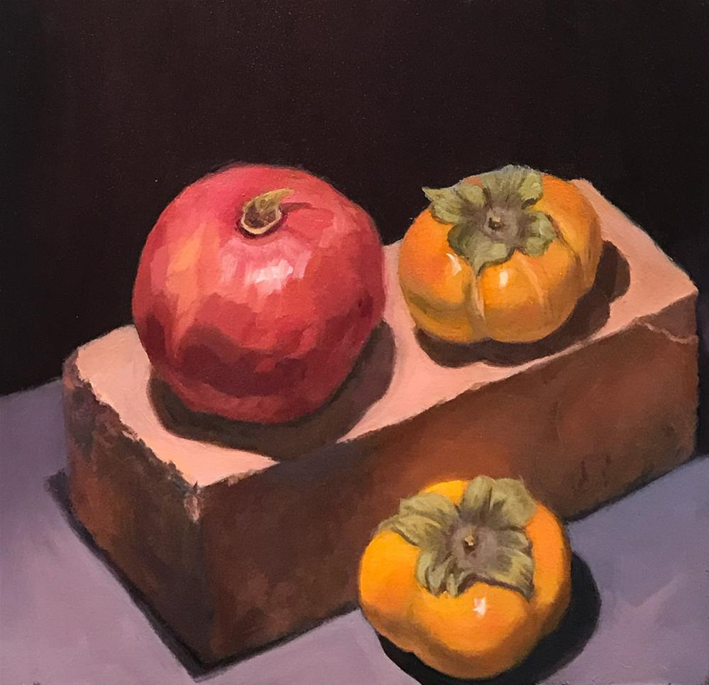 """Pomegranate, Persimmons and a Brick"" original fine art by Jana Bouc"