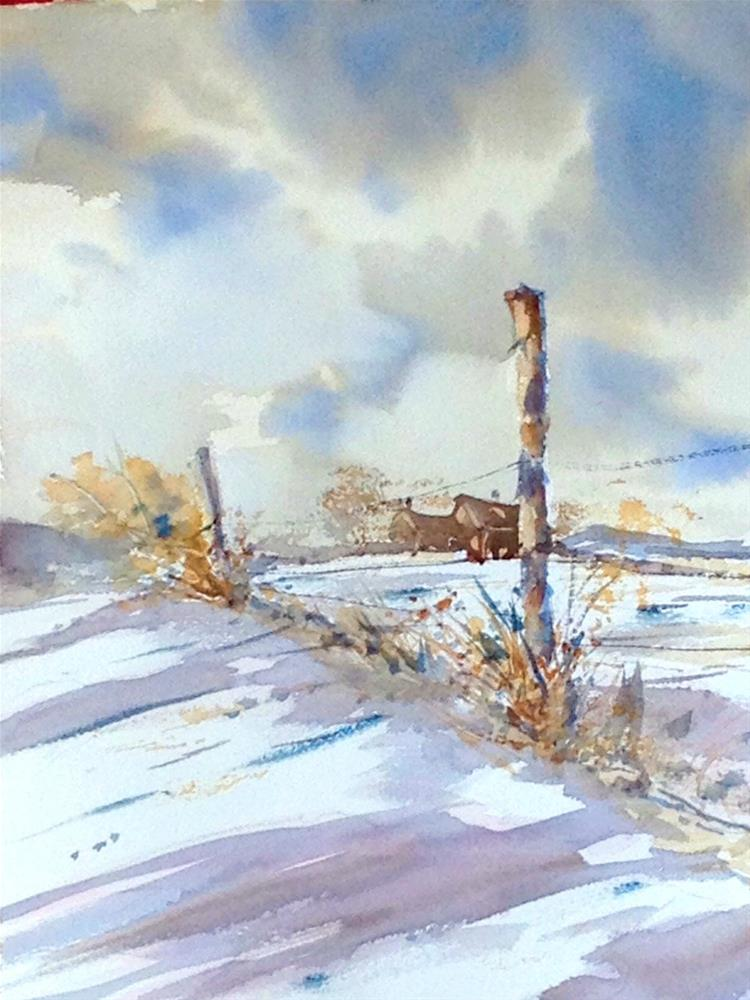 """Winter Fenceline"" original fine art by David Finnell"