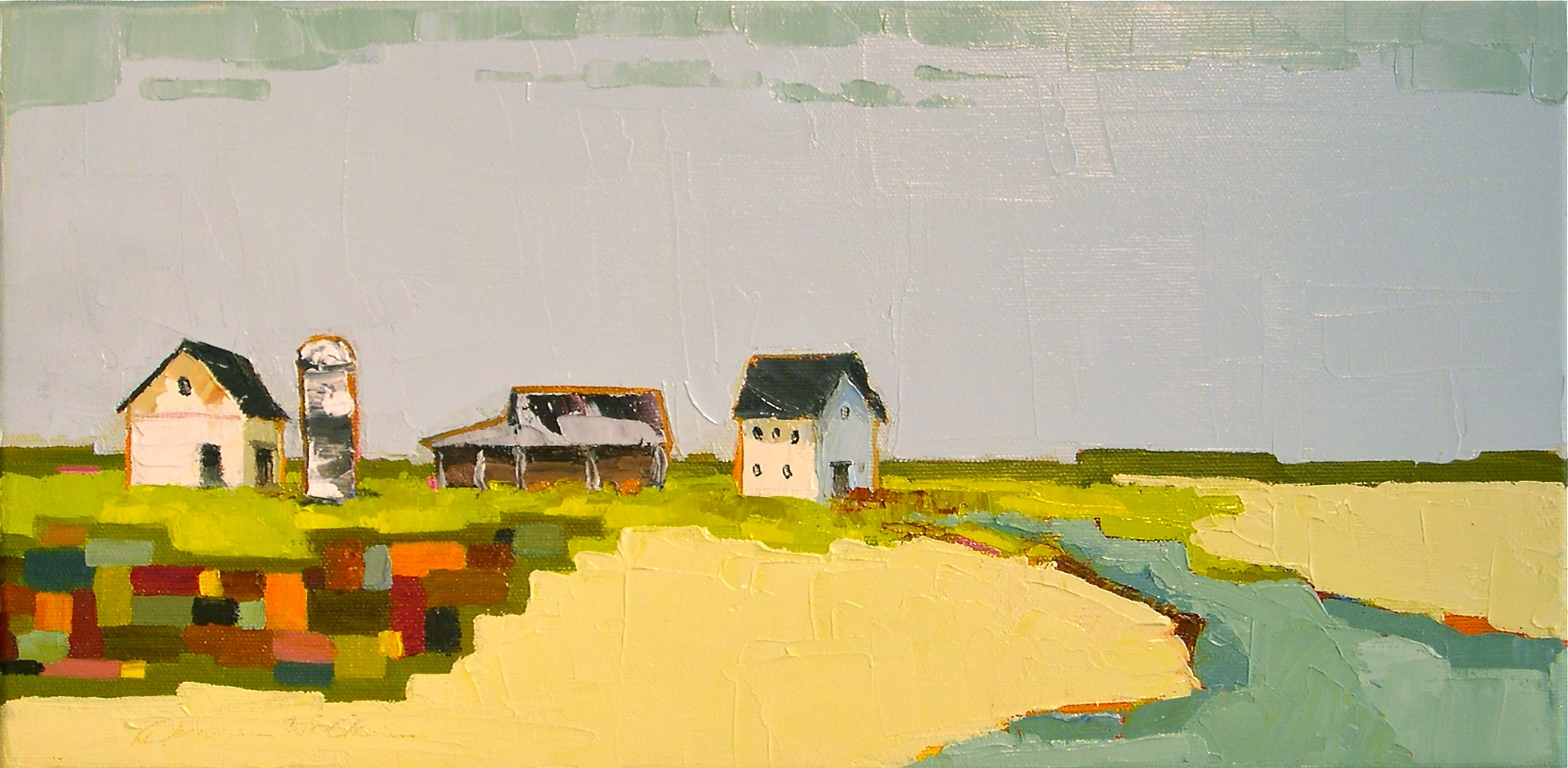 """Patchwork Homestead"" original fine art by Donna Walker"