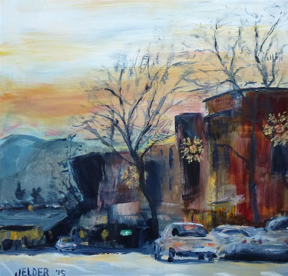 """Downtown With Snowflakes"" original fine art by Judith Elder"