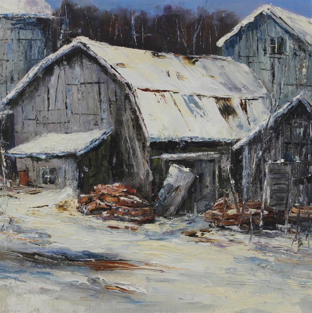 """Oil Barn Landscape Farm Impressionism Painting Palette Knife"" original fine art by Alice Harpel"