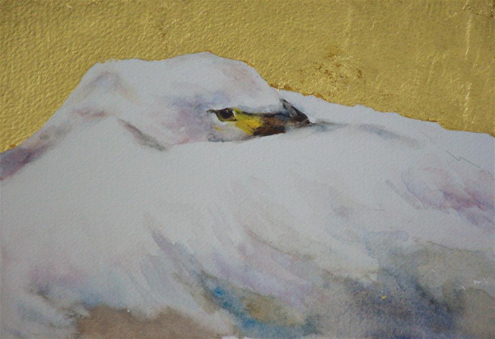 """""""Gold leaf swan"""" original fine art by Sue Churchgrant"""