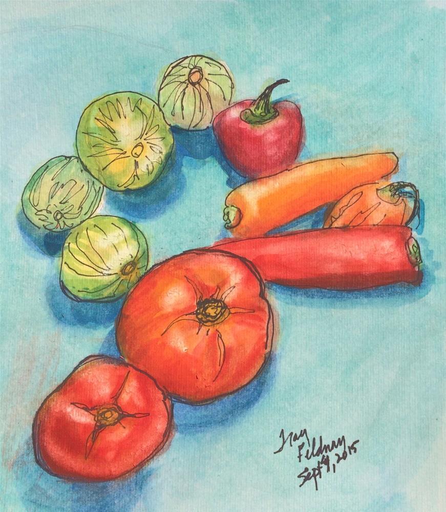 """Yum ... Late Summer Veggies"" original fine art by Tracy Feldman"