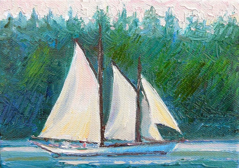 """Lush Island Sailing,seascape,oil on canvas,5x7,price$175"" original fine art by Joy Olney"