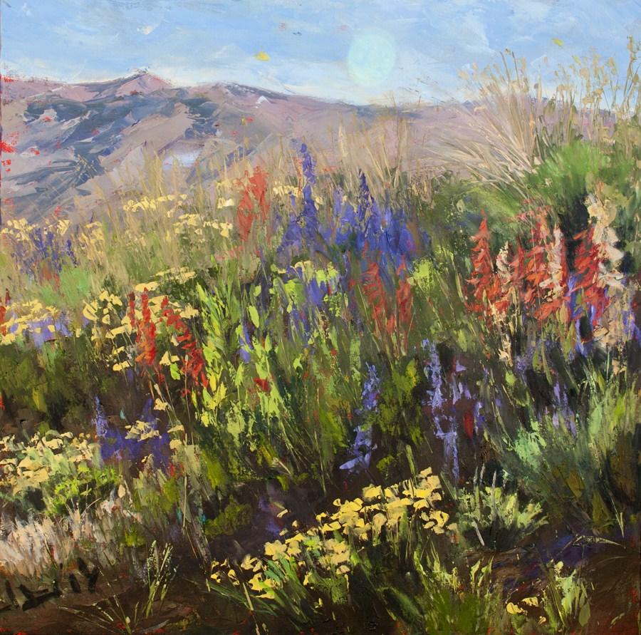 """KM2865 Flourishing with Summer Color by Colorado artist Kit Hevron Mahoney (30x30 original oil lancs"" original fine art by Kit Hevron Mahoney"