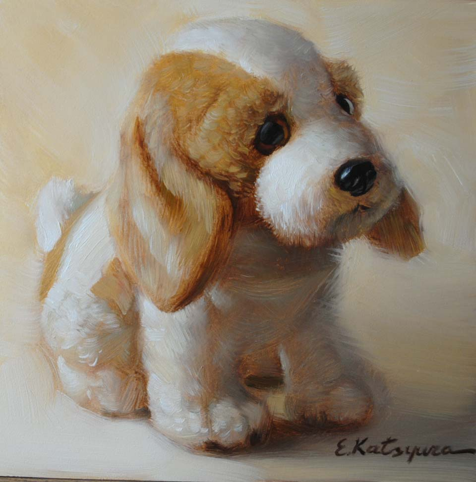 """Toy Puppy"" original fine art by Elena Katsyura"
