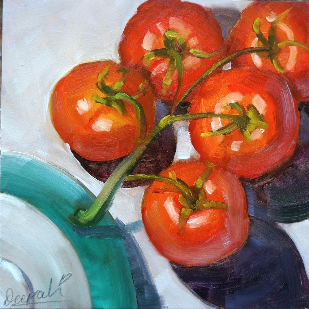 """Cluster tomatoes"" original fine art by Dipali Rabadiya"