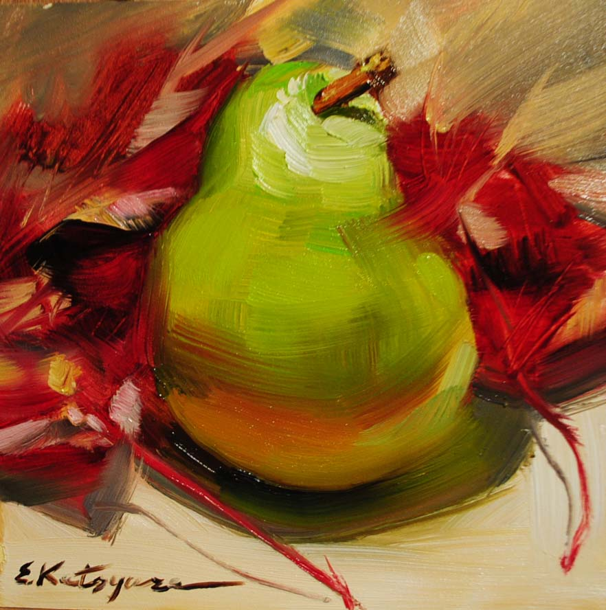 """Pear & Leaves"" original fine art by Elena Katsyura"