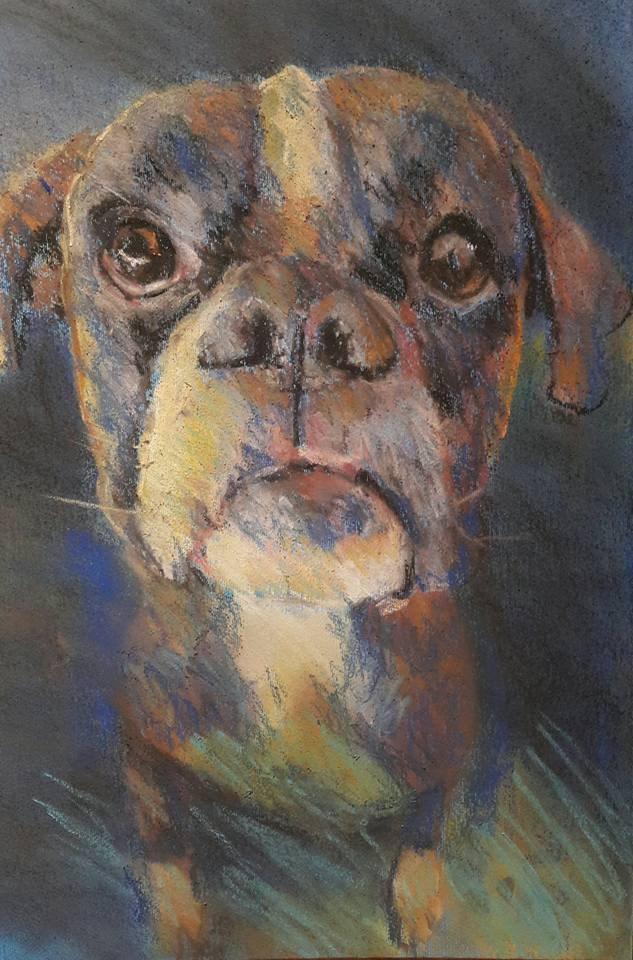 """Puppy love"" original fine art by Rentia Coetzee"