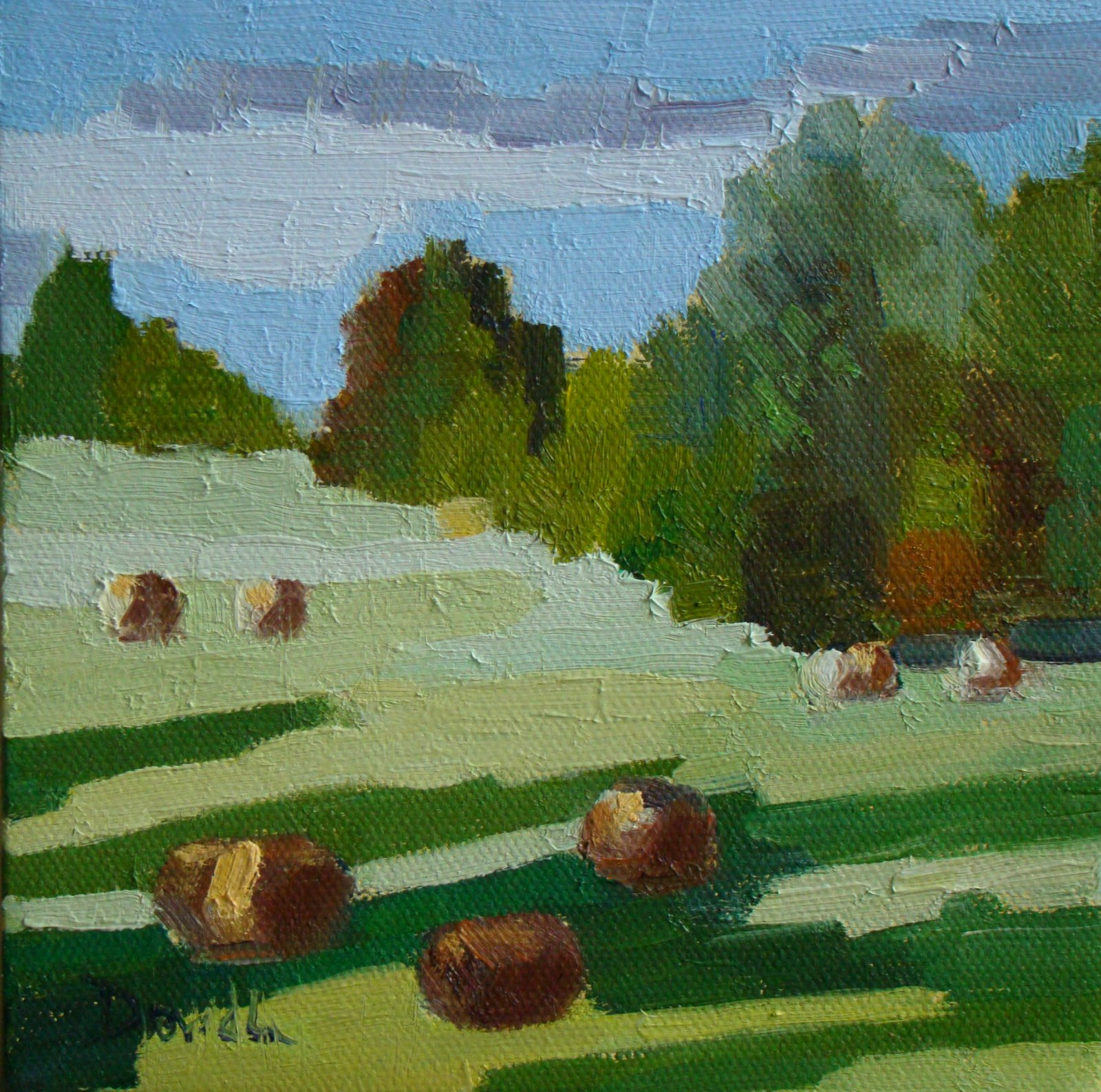 """HAYFIELDS-The Rectangle Challenge"" original fine art by Debbie Dowdle"