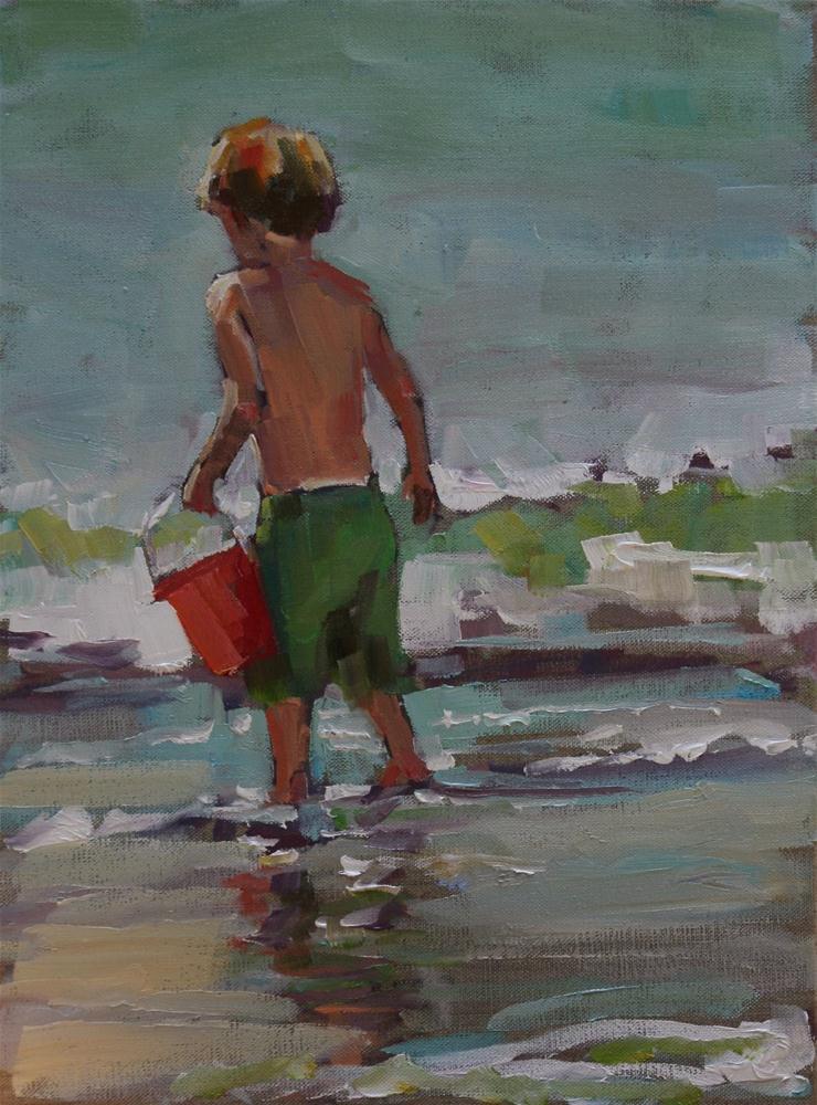 """red pail"" original fine art by Carol Carmichael"