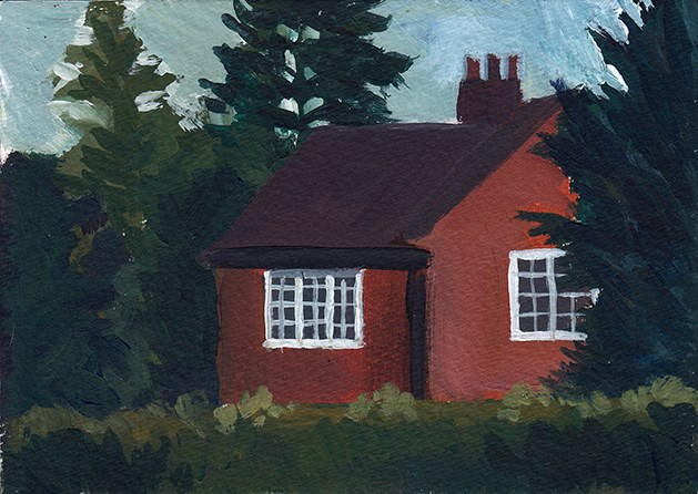 """House Behind Trees"" original fine art by J M Needham"