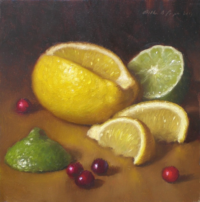 """Lemon, Lime and Cranberries"" original fine art by Debra Becks Cooper"