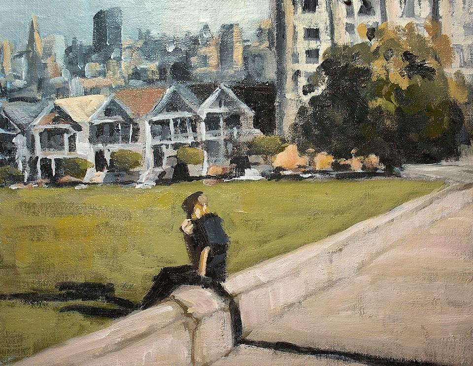 """""""Lunch at Alamo Square"""" original fine art by J. Farnsworth"""